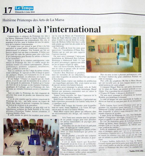 Le Temps 6 Juin 2010 Nadia Zouari